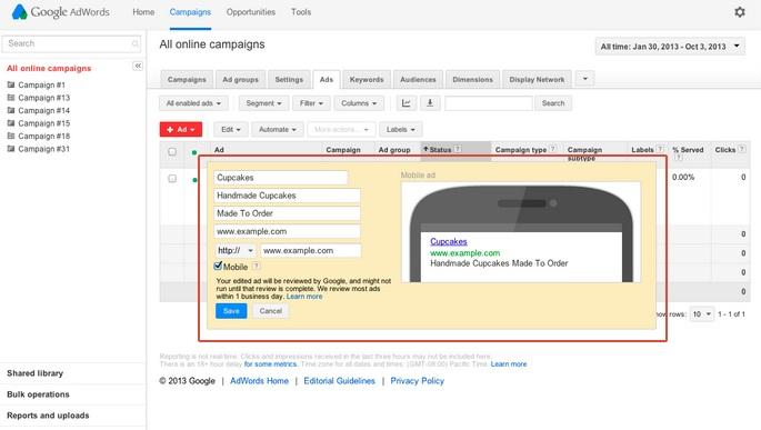 google adwords image ad copy