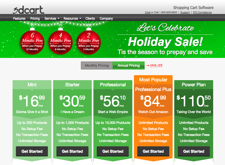 good pricing page example