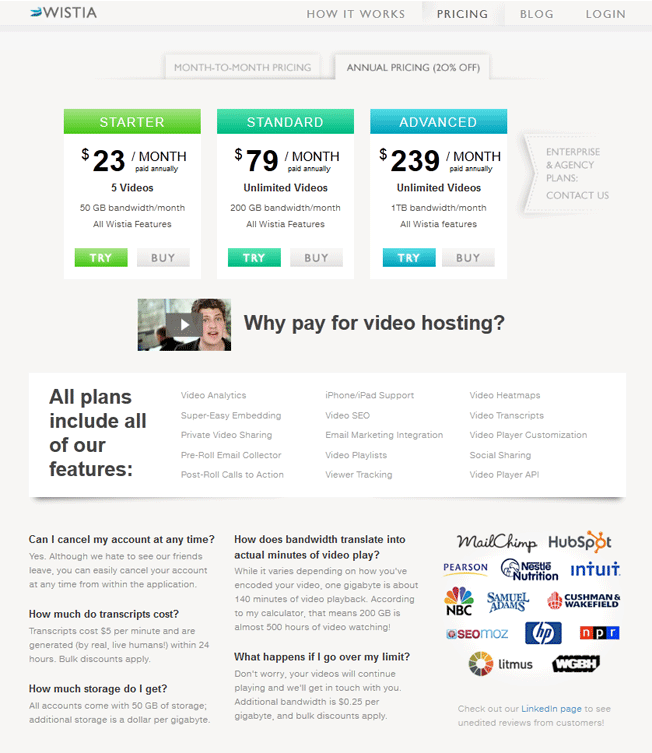 good pricing page