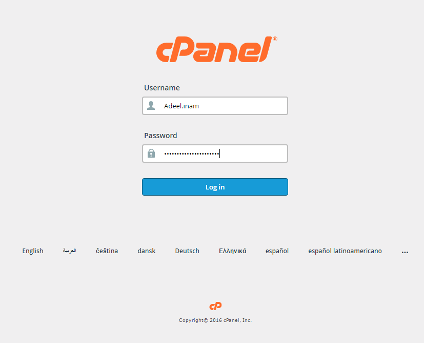 login to cpanel for backup