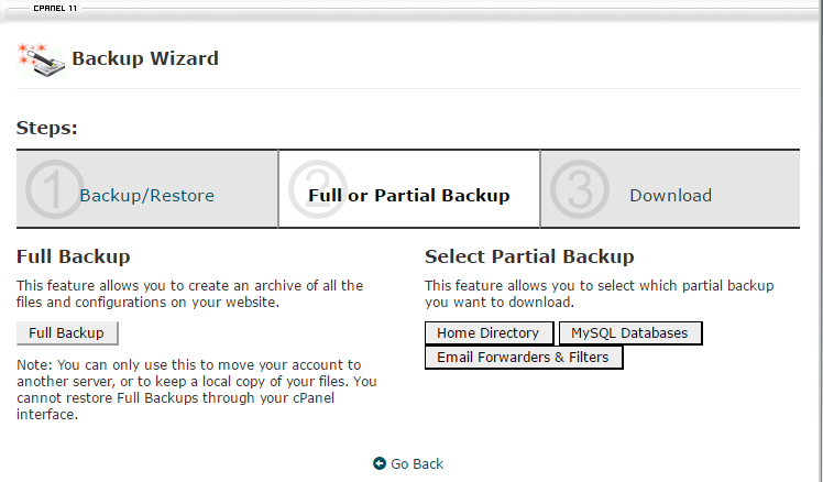 cpanel backup process