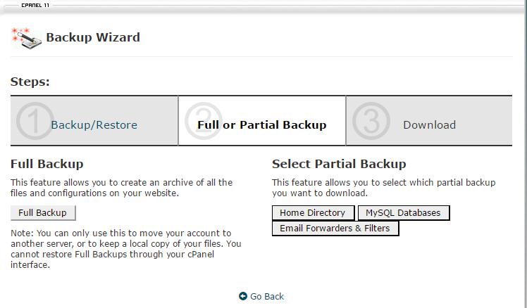 cpanel backup process