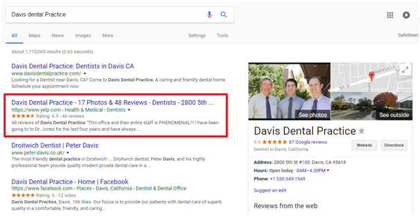 local marketing outreach davis dental screenshot