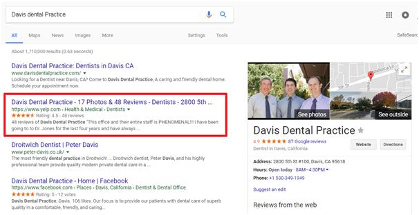 local marketing outreach davis dental screenshot