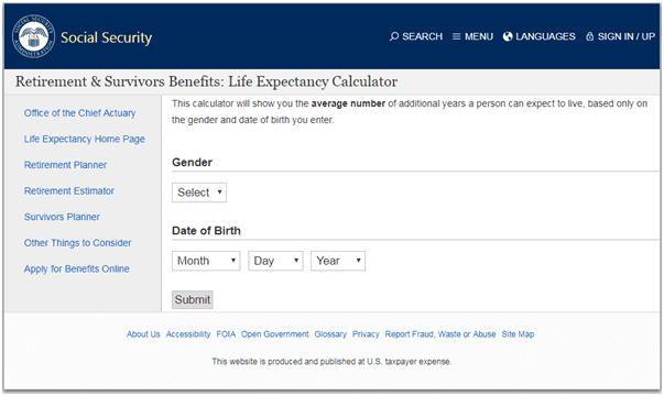 interactive content - retirement calculator from Social Security