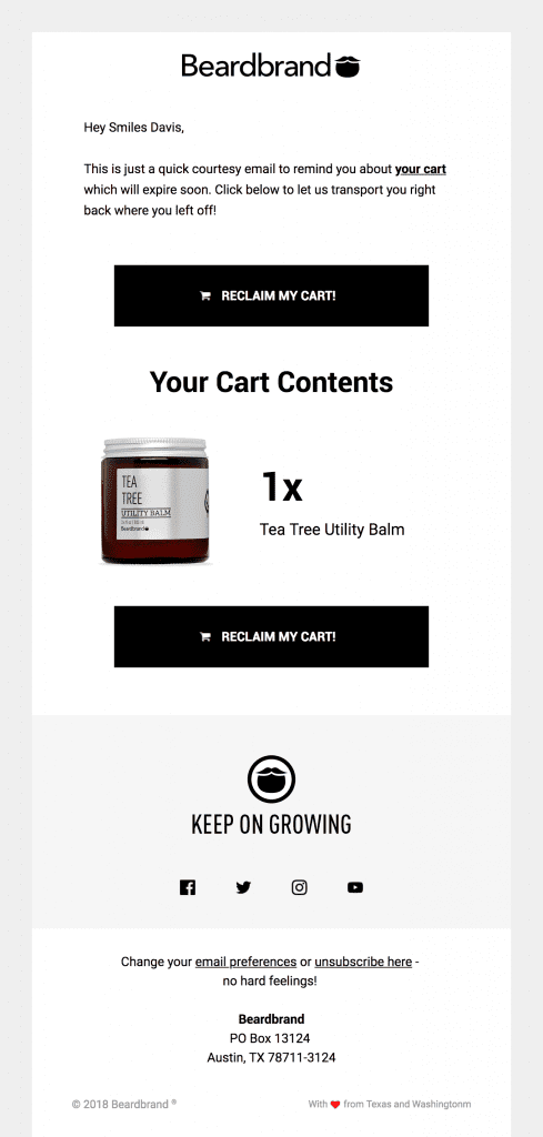 Beardbrand's abandoned cart email