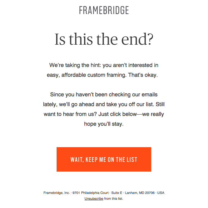 Framebridge's re-engagement email