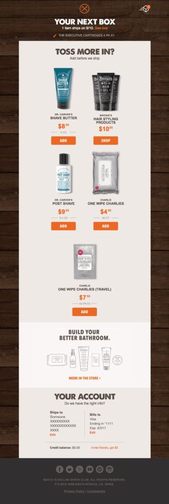 Dollar Shave Club upselling through a order confirmation email