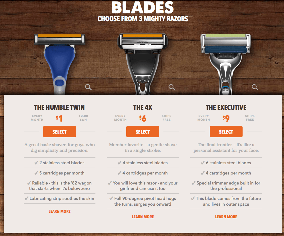 Dollar Shave Club upsell offer