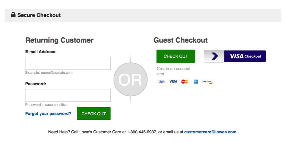 Lowes' guest checkout