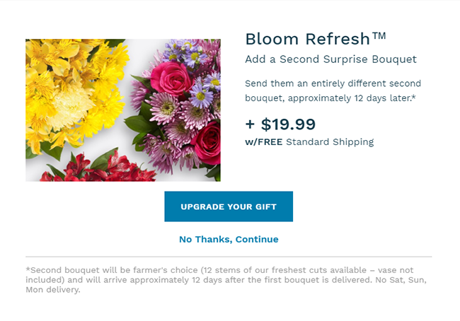 Proflowers upselling through a pop-up