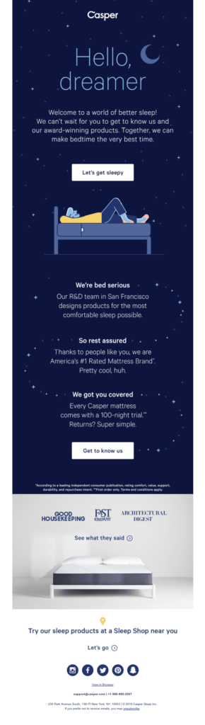 Ecommerce emails - Casper's welcome email