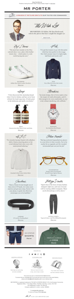 Ecommerce emails - Mr Porter's upsell email