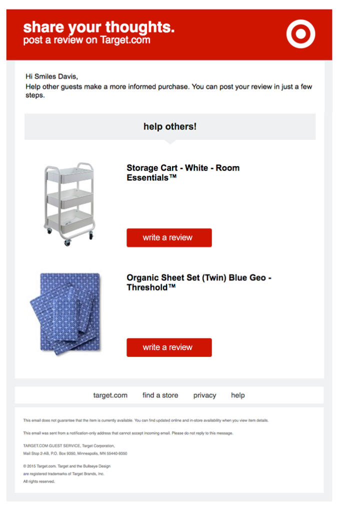 Target's post-purchase email