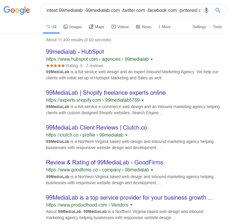 Finding unlinked brand mentions with Google