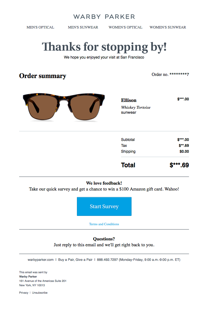 Warby Parker's order confirmation email